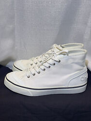 White Canvas Spelled Out Cha Nel Lace Up Sneakers Trainer 41 9.5 10