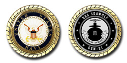 Uss Seawolf Ssn-21 Challenge Coin Officially Licensed Us Navy