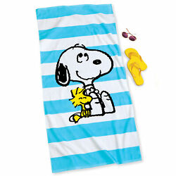 Peanuts Snoopy and Woodstock Striped Beach Towel