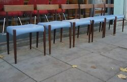 6x Vintage Teak 1970s Mogens Kold Danish Dining Chairs With Blue Leather Seats