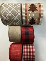 Lot 6 Wired Ribbon 4 Yds Each Faux Burlap Christmas Tree Gingham 2.5 And 1.5andrdquo New