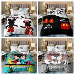 Minnie Mickey Mouse Cartoon Duvet Cover Set Twin/full/queen/king Size Bed