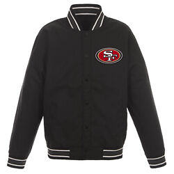 Nfl San Francisco 49ers Poly Twill Jacket Black With One Patch Logo Jh Design