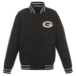 Nfl Green Bay Packers Poly Twill Jacket Black With One Patch Logo Jh Design
