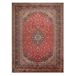 9and0397x12and03910 Vintage Hand Knotted Kashann 200 Kpsi Wool Oriental Area Rug Red