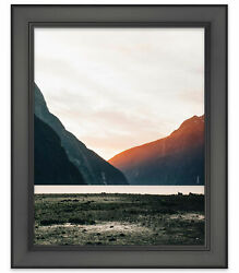 44x30 Modern Black Wood Picture Frame - With Acrylic Front And Foam Board Backin