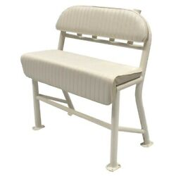 Boat Leaning Post Seat   36 1/2 W X 42 Inch White Aluminum