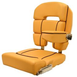Scout Boat Captains Helm Seat | Taco Marine Bolster Butterscotch Brown