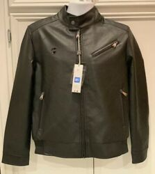 Bv Clothing Mens Small Jacket Coat Black Leather Zipper Lined Motorcycle Biker