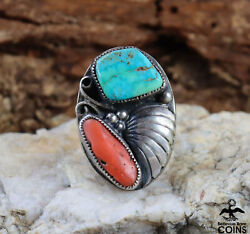 Native American /southwestern Silver And Turquoise, Coral Statement Chunky Ring