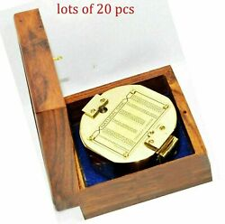 Vintage Brunt-on Stanley London Compass Brass Compass With Wooden Box Lot Of 20