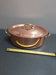 Approx 26cm French Copper Oval Casserole Dish Cocotte Made In France 2.3kg