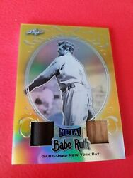 Babe Ruth Game Used Bat Barrel And Bat Card D1/1 1 Of 1 Leaf Metal Gold Refractor