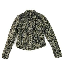 Free People Womens Victorian Jacquard Exposed Seam Moto Jacket Zip Up Size 6