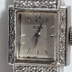 Vintage Womenand039s Elgin Diamond Encrusted 14k White Gold And Cord Watch