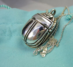 And Co Vintage Sterling Silver Large Scarab 24 Inch 23.8 Gram Necklace