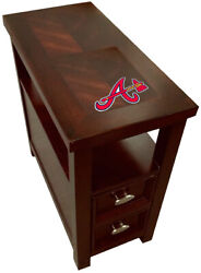 End Table Cherry Finish Nightstand With Drawer With A Mlb Team Logo Decal