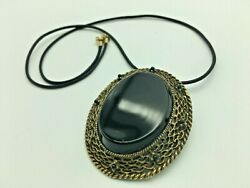 Vintage Victorian Style French Jet Filigree Pendant Or Brooch Pin On Black Cord