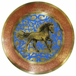 Natural Geo Horse Running Decorative Brass Accent Plate In Gold