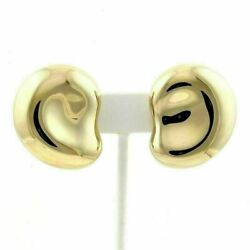 And Co. Peretti 18k Yellow Gold Large Bean Clip On Earrings