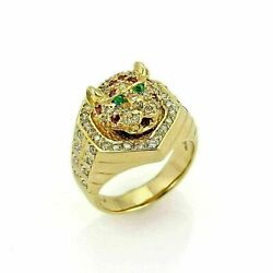Estate 1.08ct Diamond Ruby And Emerald 18k Gold Moving Tiger Head Ring