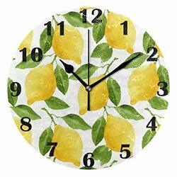 Lemon Wall Clock Silent Non Ticking Tropical Flower Clocks Battery Operated 10quot;