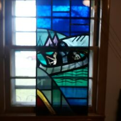 Original Religious Stained Glass Window Native American Indians Scene Circa 1900