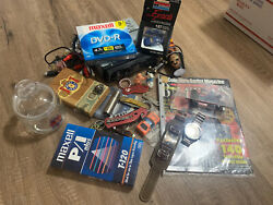 Junk Drawer Lot7 Mix Collectibles 80s Watches Knives Toys Stereo Car Silver