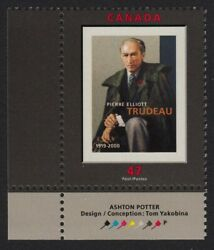 Pierre Trudeau = History Canada 2001 1909 Mnh Ll Stamp W/color Id