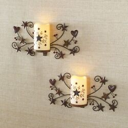 Hearts And Stars Rustic Home Lighted Wall Sconces - Set Of 2