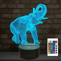 Elephant 3d Lamps Night Light With Remote Control, 16 Colors Decor Lamp For Kids