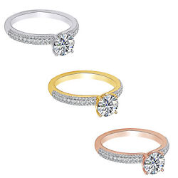 1.35 Ct Round Cut Natural Diamond 18k Solid Gold For Ever Love Engagement Ring