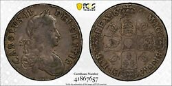 1668 Great Britain Crown Silver Coin Charles Ii 2nd Bust Pcgs Vf-30