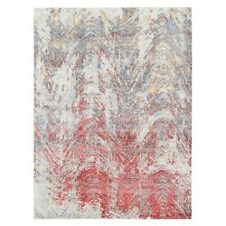 9'x11'7 Gray With A Mix Of Red Hand Knotted Modern Wool And Silk Rug G62399