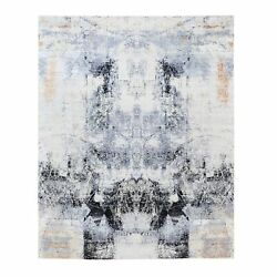 8and039x10and039 Gray And Black Modern Wool And Silk Hand Knotted Oriental Rug G62402