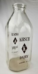 Vintage Kirsch Dairy Syracuse Ny Glass Milk Bottle Half Gallon Pyro Acl Painted
