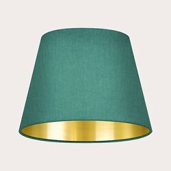 Lampshade Tapered Forest Green Textured 100 Linen Brushed Gold Light Shade