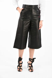 Off-white Women Trousers High Waist Leather Gaucho Pants Black