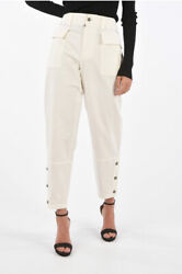 Dolce And Gabbana Women Trousers Wide Leg Pants With Ankle Button White