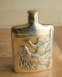 Silver Plated Tarnish Free Godinger Flask With Embossed Duck Scene