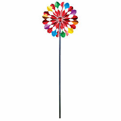 Collections Etc Hand-painted Metal Double-sided Wind Spinner Stake
