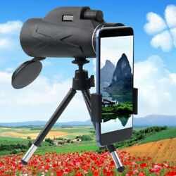 80x100 Zoom Optical Hd Lens Monocular Telescope+ Tripod+clip For Cell Phone Bs