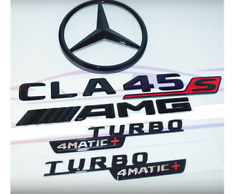 For Mercedes Emblem Star Boot Trunk Cla45s Amg Turbo 4matic+ Glossy Black W118