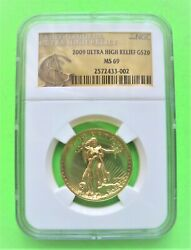 2009 Ultra High Relief 20 Gold Double Eagle Ngc Ms69 St Gaudens Label 1-oz Gold