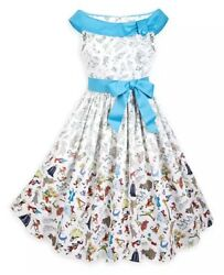 New Disney Parks The Dress Shop Ink And Paint Sketch Fit And Flare Dress Womens Lg