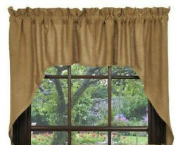 New Primitive Country Farmhouse Tan Natural Burlap Cafe Swags Curtains 36