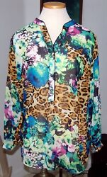 Nwot Ny Collection Blouse Tunic Abstract Floral Colorful Sheer Shirt Sz 1x