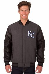 Mlb Kansas City Royals Wool And Leather Reversible Jacket With 2 Front Logos