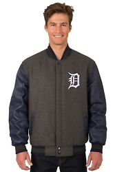 Mlb Detroit Tigers Wool And Leather Reversible Jacket With Embroidered Logos