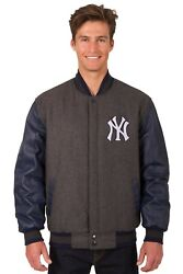 Mlb New York Yankees Wool And Leather Reversible Jacket With Embroidered Logos